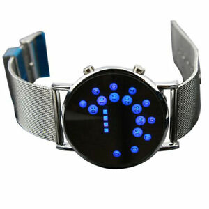 LED-Round-Mirror-Blue-Circles-MAN-Watches-Stylish-band-Stainless-Steel-Watch-FF