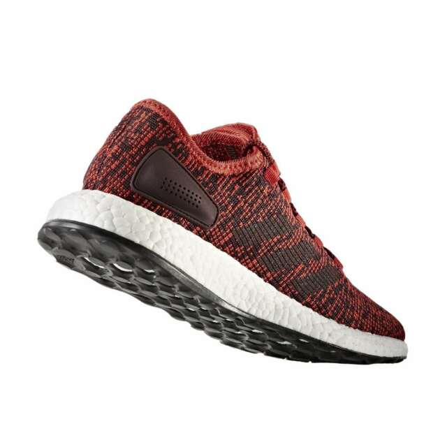 82bf99a507c31 adidas Pure Boost Mens S81997 Tactile Red Burgundy Knit Running ...