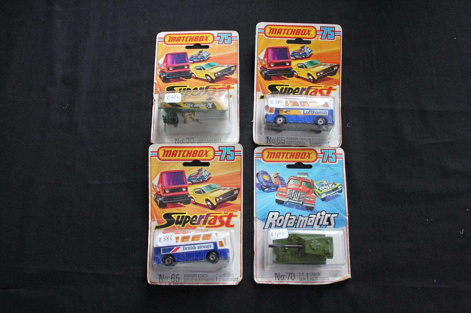 Lot 4 MATCHBOX 75 SUPERFAST N 65 N 70 N 30 canon auto porte autobus avion