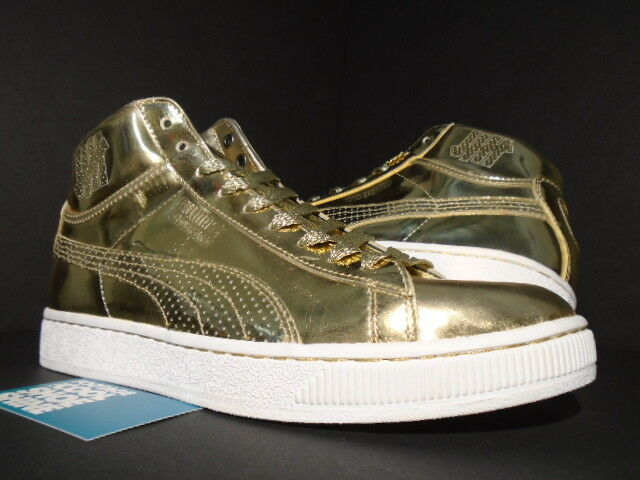 2009 PUMA UNDFTD 24K MID METALLIC GOLD WHITE UNDEFEATED 349567-01 NEW 10
