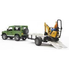 Bruder Land Rover Defender Einachsanhänger JCB Mikrobagger Bauarbeiter