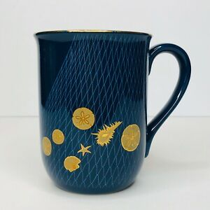 Vintage-Otagiri-Japan-Blue-8oz-Tea-Coffee-Mug-Nautical-Gold-Seashells-In-Net