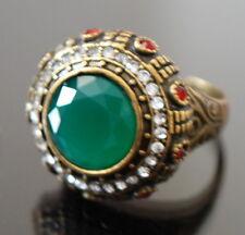 Designer Ring Fingerring Damenring Kadina Paris  Edelstein Jade Grün Bronze Pl.