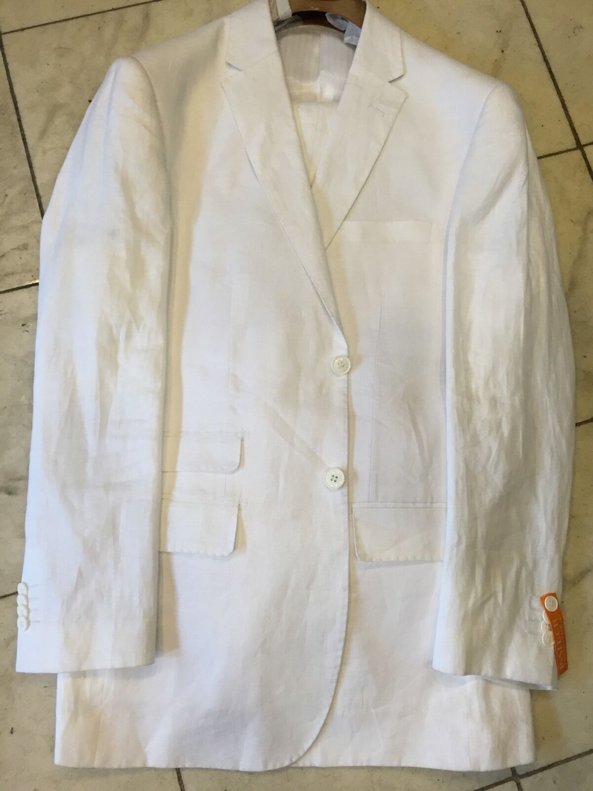 NEW INSERCH MENS 100% LINEN WHITE 2BT. SUIT LINED  BEACH WEDDING SIZE 40L