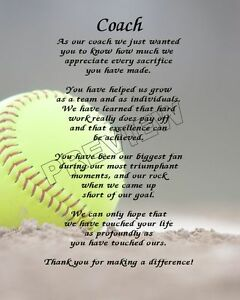 TO OUR SOFTBALL COACH PERSONALIZED PRINT POEM END OF THE ...