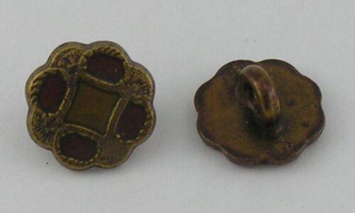 Ösenknöpfe 10 Metallknöpfe Knöpfe 11mm altmessing//rot  07.31//04074.18r