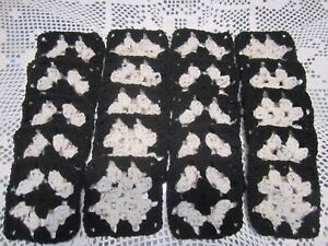 20 4 Granny Squares Blocks 4 Afghan Afghans Aran Fleck And Black