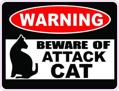 """/""""WARNING/"""" BEWARE OF ATTACK CAT Bumper sticker  #247"""