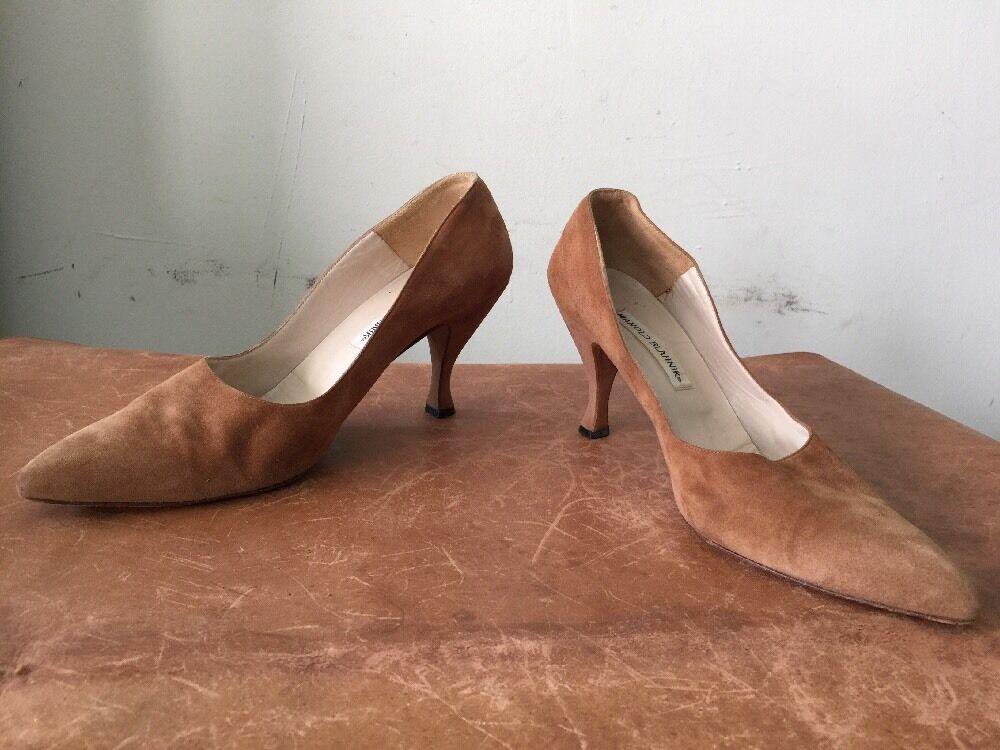 Manolo Blahnik Pumps Heels Tan/Braun Suede Größe 40.5