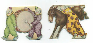 2 different clown circus stand-up double sided paper doll toys