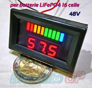 INDICATORE-DI-CARICA-VOLTMETRO-per-batterie-LiFePO4-48V-LED-bici-elettrica-ebike