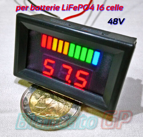 INDICATORE DI CARICA VOLTMETRO per batterie LiFePO4 48V LED bici elettrica ebike