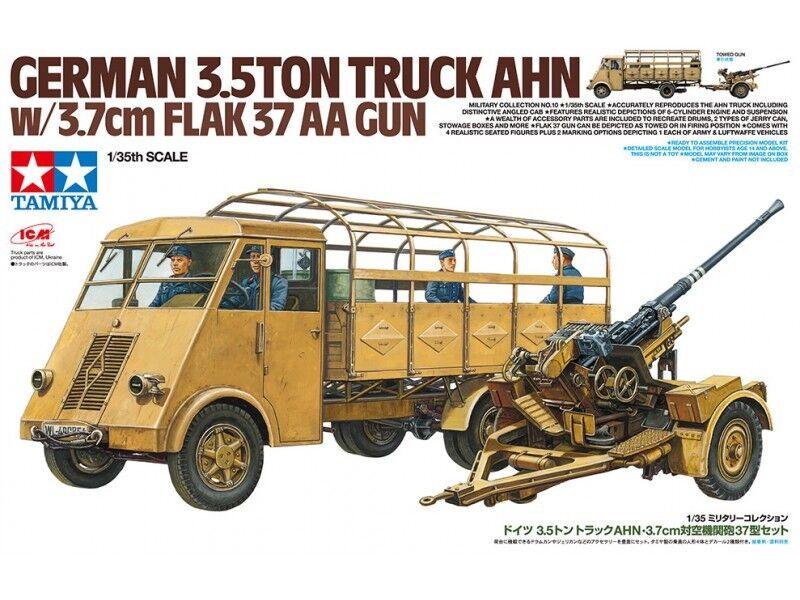 Tamiya 1 35 Escala 1  3 5 Ahn & Artillería Antiaérea 37 Kit de Modelismo