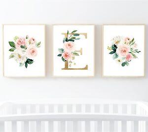 3 en Rosa Oro Floral Monograma Personalizado flores de vivero Impresiones Arte 614-A