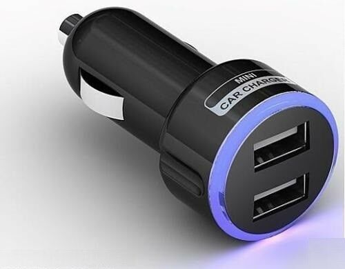 CAR CHARGER DOUBLE USB TWIN 2 DUAL BLACK 12-24V CIGARETTE SOCKET LIGHTER PORT