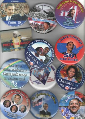 12 UNUSUAL Barack OBAMA pin Campaign pinback HISTORIC Highly COLLECTIBLE button