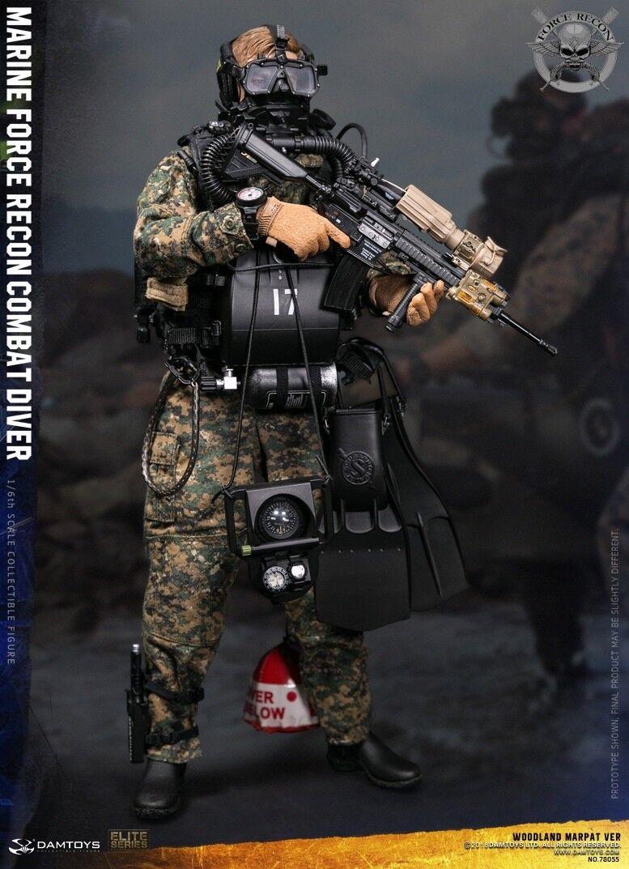 Dam Juguetes Usmc Marina Force Recon combate Diver Woodland Marpat versión 1 6 figura