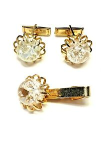 Vintage-Crackled-Glass-Ball-Cufflinks-and-Tie-Clasp-Gold-tone-metal