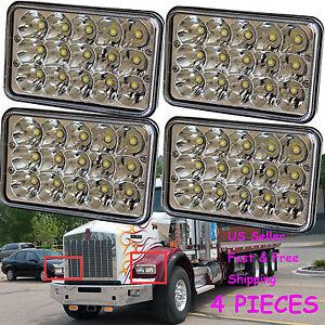 4pcs LED Headlights For Kenworth T800 T400 T600 W900B W900L Classic 120//132