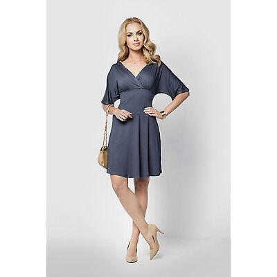 Womens Cocktail Wrap Dress V Neck 3/4 Sleeve Skater Dress  Sizes 8 - 18 FM09