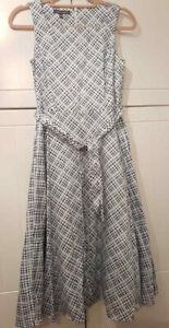 Women-039-s-Laura-Ashley-White-Blue-Cotton-Check-Midi-Belted-Dress-Size-UK-8-A64