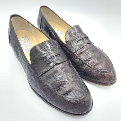 Vintage SAKS Fifth Avenue Crocodile Brown Loafer W
