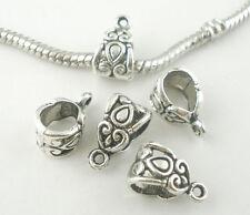 20Pcs Bails Beads European Silver Tone Heart Pattern Fit Charms Bracelet 14x8mm
