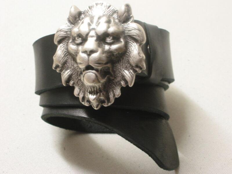 1a SattlerqualitÄt Hochwertig Top Ledergürtel Neu Gürtel Leder Löwenkopf LÖwe #