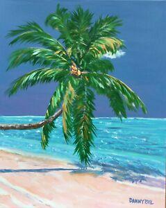 CARIBBEAN-PALM-Tree-BEACH-Original-Art-PAINTING-DAN-BYL-Fine-Contemporary-4x5ft