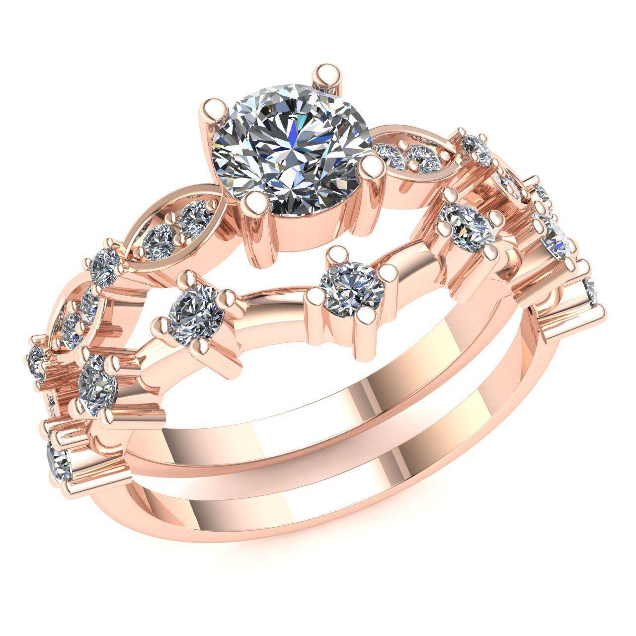 Genuine 1ct Round Cut Diamond Fancy Solitaire Bridal Engagement Set 10K gold
