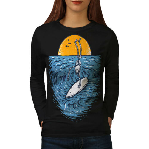 Surfer Skeleton Women Long Sleeve T-shirt NEWWellcoda