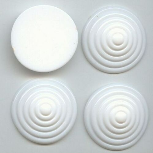6 VINTAGE WHITE ACRYLICC 35mm ROUND DECO TARGET DESIGN CABOCHONS 5253