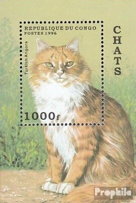 Never Hinged 1996 Cats Easy To Lubricate Painstaking Congo Block129 Unmounted Mint brazzaville