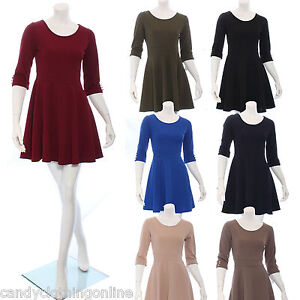 Ladies-Peplum-Dress-Long-Fitted-Skater-Aline-Top-Summer-Casual-Midi-Size-8-10-12