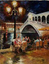 YARY DLUHOS Venice Italy Rialto Bridge night lights cafe Original Oil Painting -