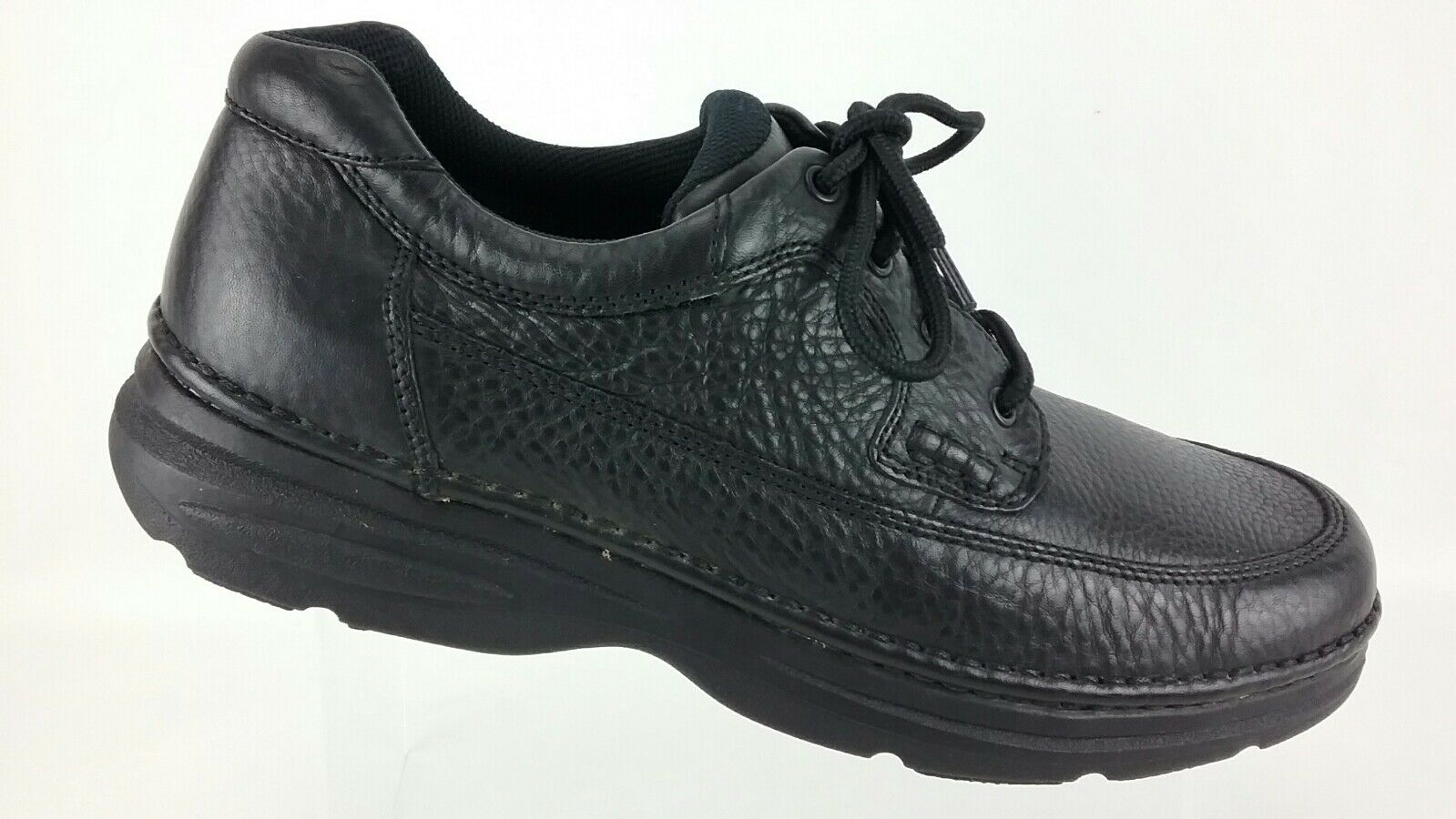 Bass Casual Comfort Oxford Pebble Leather Black Lace Up Mens 13 M shoes R7S5