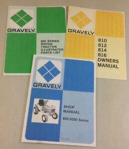 gravely 800 series 810 812 814 816 parts owners operators shop repair manual set ebay