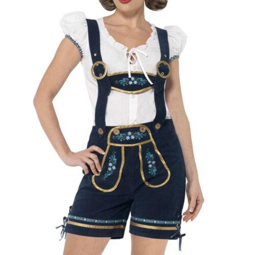 Señoras tradicional Deluxe Oktoberfest Bávaro Mini Dirndl Pantalones Cortos Lederhosen Top