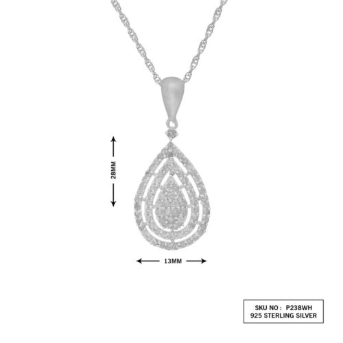 0.69Ct Round Cut White Natural Diamond Teardrop Pendant Necklace Sterling Silver