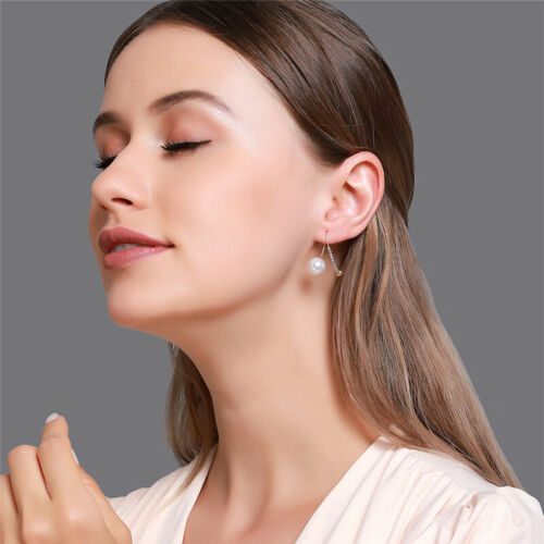 Details about  /2021 Fashion Silver Gold Plated Drop Earrings for Women Crystal Pearl A Pair//set
