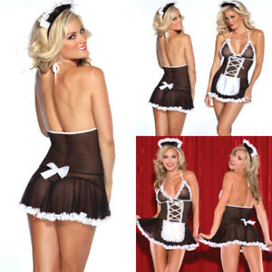 Sexy-Women-Mesh-Maid-Costume-Lingerie-Set-Halloween-Cosplay-Babydoll-Nightwear