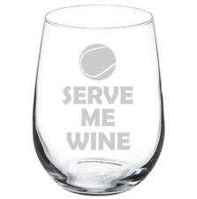 Tennis Serve Me Wine Funny Stemmed / Stemless Wine Glass