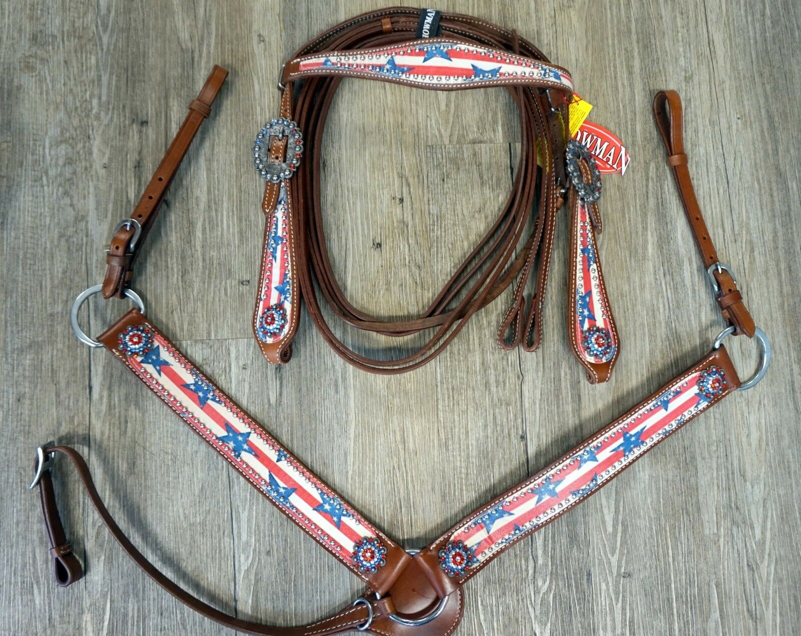 SHOWMAN Full Taille American Stars & Stripes Cuir éperons & Breast collar Set