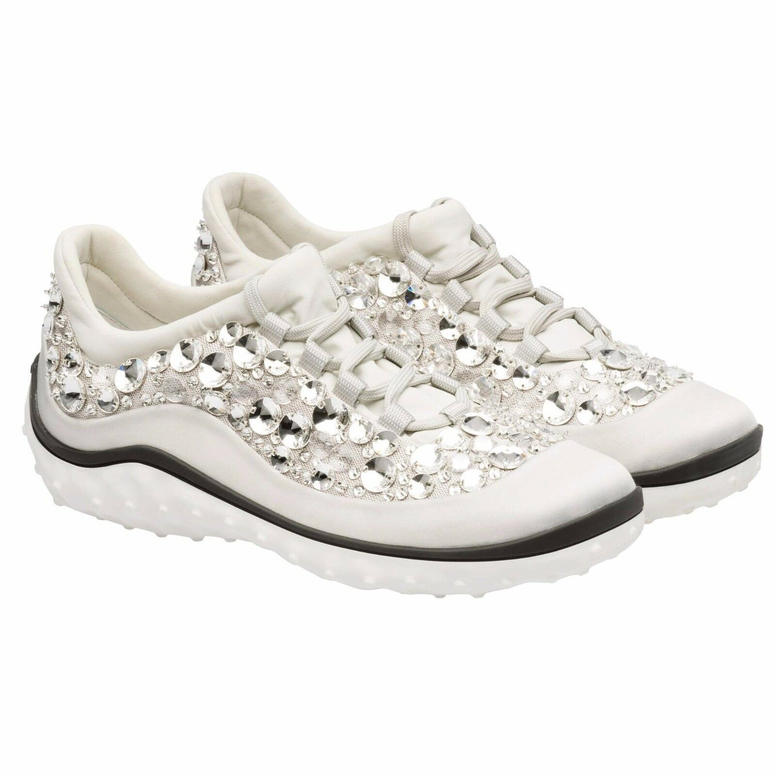 $3250 MIU MIU WOMEN WHITE CRYSTAL ATHLETIC RUNNING TENNIS SNEAKERS SHOES 41 10.5