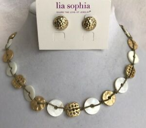 Lia-Sophia-Windsong-Necklace-15-18-034-Mop-amp-Forged-Earrings-1-2-034-Matte-Gold-Tone