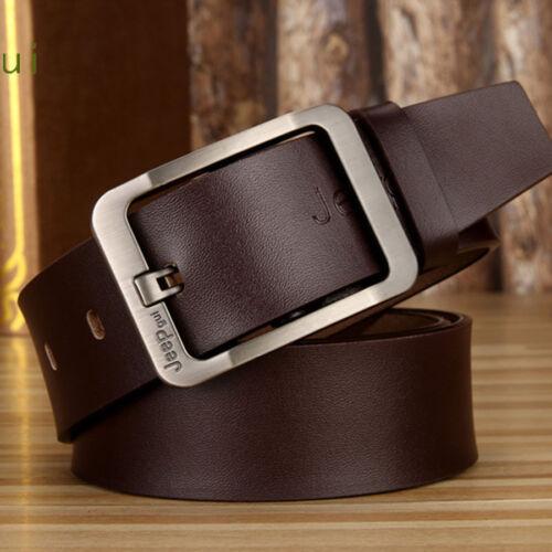 Men Genuine Leather Casual Fashion Single Prong Belt Business Dress Metal Buckle