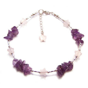 Amethyst-Rose-quartz-stars-bracelet-Sterling-silver-gemstone-gem-pink-purple