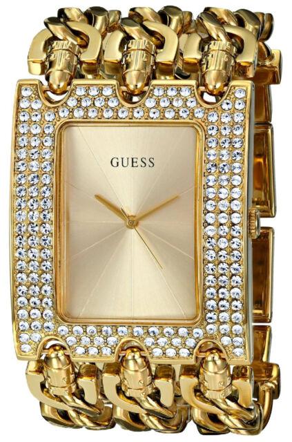 Guess Reloj Mujer Bracelet Pulsera Watch Woman Gold Crystal Stone Hand Oro Chain