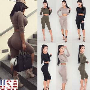 f65173ac7676 New Women Crop Top Blouse +Pants Two-piece Playsuit Bodysuit ...
