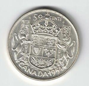 CANADA-1954-50-CENTS-HALF-DOLLAR-QUEEN-ELIZABETH-II-800-SILVER-COIN